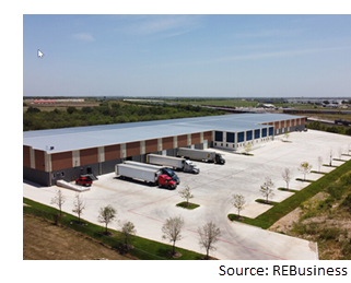 Elevated view of 152K-sf warehouse