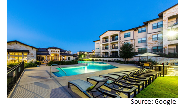 Poolside view of Lenox Stone Oak at 1207 Agora Palms Dr.
