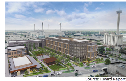 Rendering of East End, a mixed-use development at 1220 E. Commerce St.
