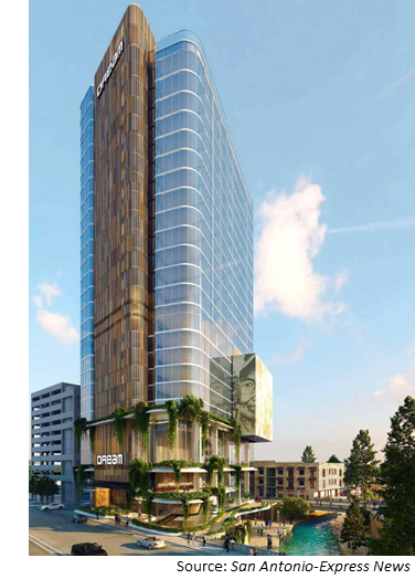 Rendering of Dream, a 25-story hotel planned for San Antonio