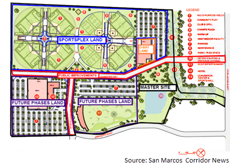 Map of the location of the planned sportsplex facility in San Marcos
