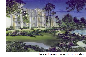 A rendering of the apartment community from Heiser Development Corporation.