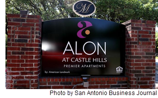 Alon at Castle Hills signage.