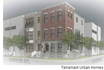 Rendering of City Center town homes.