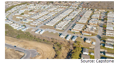 Ariel view of Crescent Place, a manufactured housing community