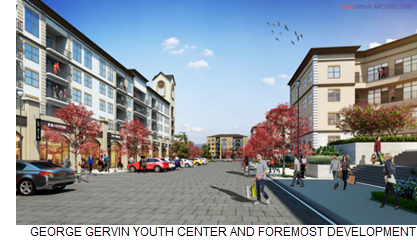 COURTESY / GEORGE GERVIN YOUTH CENTER AND FOREMOST DEVELOPMENT  The Echo East mixed-use project is planned for the vacant lot at 301 Spriggsdale Blvd.