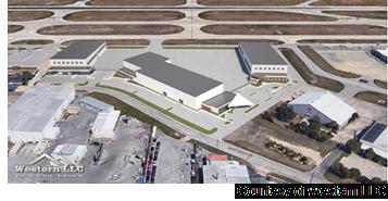 Site plan of airport hanger hub.