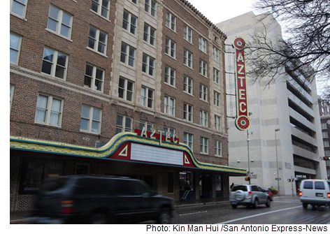 A view of the exterior of the historic Aztec Theater in downtown San Antonio.