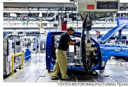 An employee at the Toyota Motor Manufacturing Texas Inc. plant in San Antonio works on the assembly line. The plant makes Tacoma and Tundra pickup trucks. A new study by Trinity University concludes that manufacturing had a $40.5 billion economic impact on San Antonio and surrounding communities in 2016.