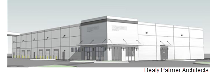 An architects rendering of one of the warehouses to built.