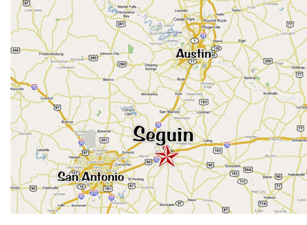A map showing Austin and San Antonio, also showing Seguin east of San Antonio along I-10.
