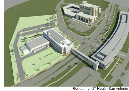 A rendering of the medical research facility that will house the Barshop Institute for Longevity and Aging Studies.