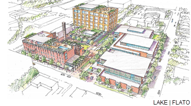 Sketch/rendering of the redevelopment of the Merchants Ice complex on San Antonio's East Side.