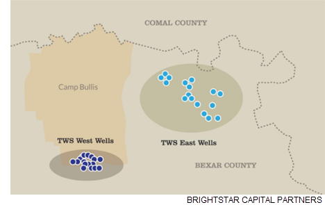 A map that shows Camp Bullis in northern Bexar County, along with its water resources.
