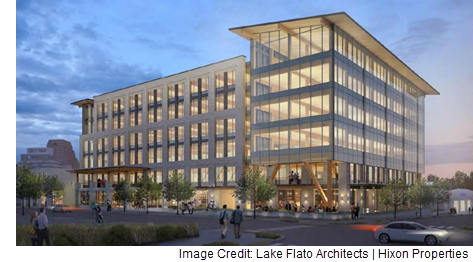 A rendering of the Cavender Office Project in Downtown San Antonio by Lake Flato Architects, a planned walkable urban neighborhood project.