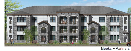 A rendering showing the style of the apartment complex, from architectural firm Meeks + Partners.