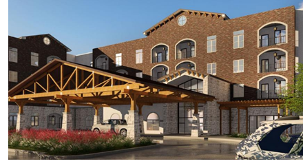 A rendering of one of the buildings for the Larkspur at Live Oak senior living development.