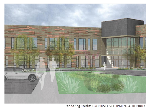 A rendering of The Waters Building at Brooks.