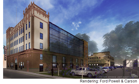 This rendering draft shows what the San Antonio Light building could look like after redevelopment.