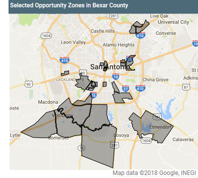 A map showing the locations of the 23 census tracts in Bexar County designated as 'Opportunity Zones'.