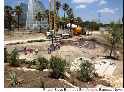 A view of the construction on the San Antonio Botanical Garden Expansion.