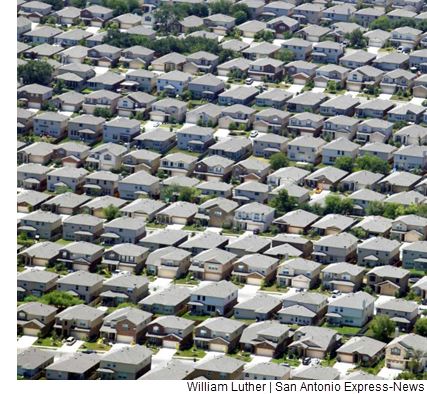 An aerial view of a lot of houses.