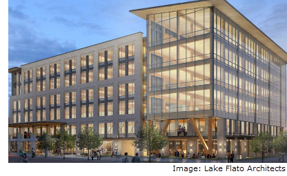 Rendering of mass timber frame building