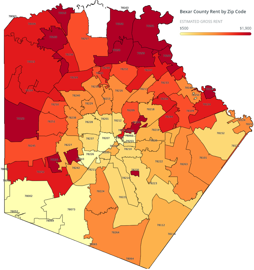 a map of Bexar County by Zip Code, showing that rents in the north-side of the city are generally higher than in the south side of the city.