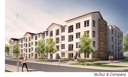 A rendering shows the Rio Lofts, a proposed mixed-income community by The NRP Group on San Antonio's South Side. This will be the view from King Roger Street.
