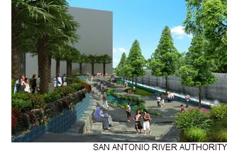 A rendering shows what the second leg of the initial phase of the San Pedro Creek improvement project could deliver to downtown San Antonio.