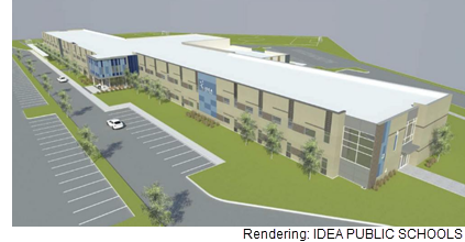 A rendering of the new IDEA PUBLIC SCHOOLS charter in Ingram Hills, San Antonio, which will be ready for the 2018-2019 school year.