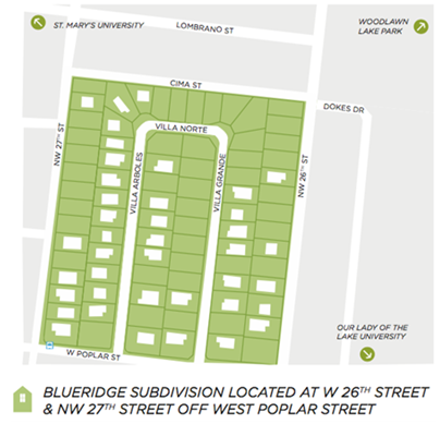 A map of the Blueridge  subdivision in west San Antonio, by the San Antonio Housing Authority, located off of Poplar St. between NW 26th and 27th St.'s.