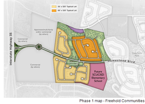 A site plan for Phase 1 of Homestead, by Freehold Communities, which includes homes and the elementary school.