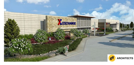 A rendering of the new exchange on Fort Sam Houston, by gff Architects.