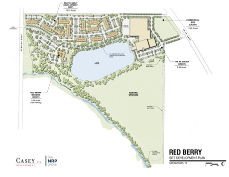 The site redevelopment plan for the Red Berry Estate on the Lake. The plan shows multifamily development on the north-eastern side of the property, and commercial development on the south-eastern side of property. The Site map is oriented East at the top.