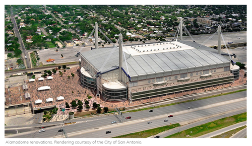 The rendering of the alamodome and it's improvements.