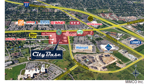 A map of the shopping center showing the location of retailers such as Starbucks, Best Buy, and Office Depot.