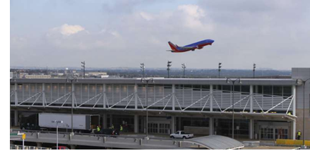 A plane takes off from San Antonio International Airport.
