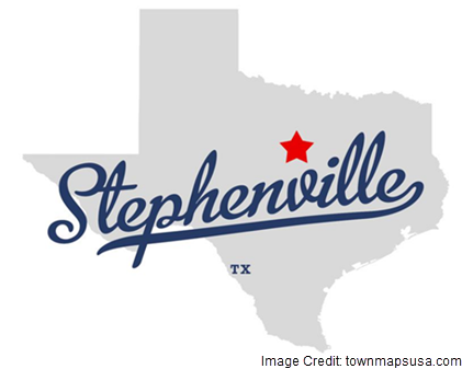 An outline of the State of Texas with a star marking the location of Stephenville, with a stylized version of the towns name.