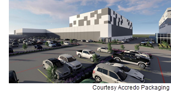 Rendering of the warehouse and manufacturing space.