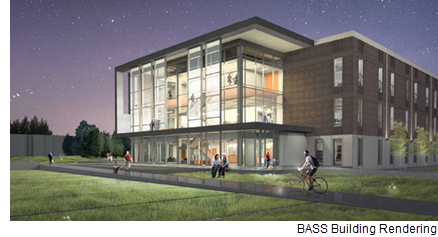 A rendering of the Building for Academic and Student Services.