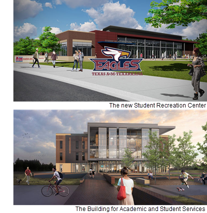 Renderings of the two TAMU-TEX buildings nearing completion in Texarkana.