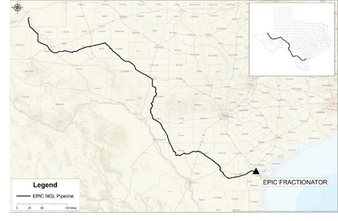A map showing the route of the EPIC pipeline.