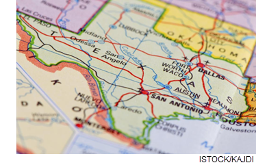 Image of a map of Texas.
