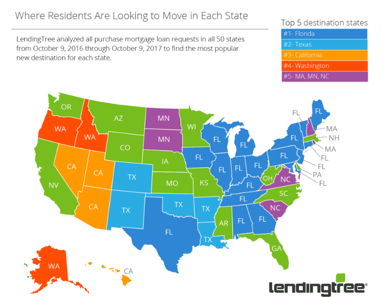 Where Residents are looking to move in each state. Top 5 destination states are: Florida, Texas, California, Washington, and Massachusetts/Maine/North Carolina.