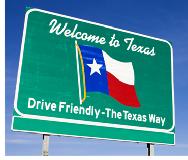 A sign seen when one drives into Texas, which reads:
