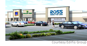 The new tenants include Aldi, Ross Dress for Less and Chick-fil-A, and existing tenant Dollar Tree will relocate within the shopping center.