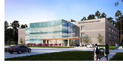 The University of Texas M.D. Anderson Cancer Center topped out its new facility in The Woodlands late February 2018.