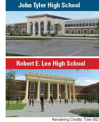 Renderings of the renovated facades of John Tyler and Lee high schools in Tyler Texas.
