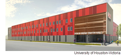 A rendering of the Don & Mona Smith Hall at the University of Houston-Victoria.